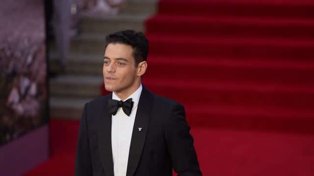 """rami malek attends the """"no time to die"""" world premiere at royal albert hall on september 28, 2021 in london, england. - premiere stock videos & royalty-free footage"""
