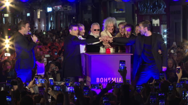 Rami Malek Lucy Boynton Brian May Roger Taylor Ben Hardy Joe Mazzello Gwilym Lee Allen Leech at Carnaby Street Bohemian Rhapsody Light Installation...