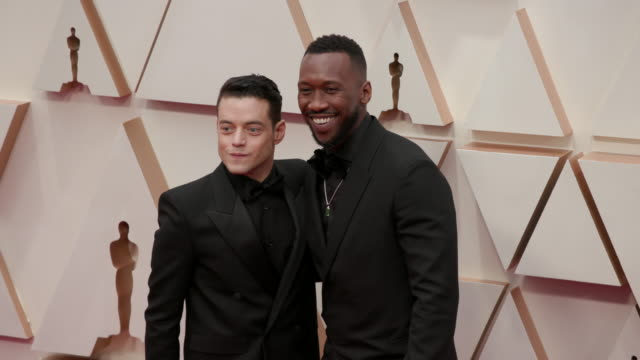 rami malek, mahershala ali at dolby theatre on february 09, 2020 in hollywood, california. - academy awards stock videos & royalty-free footage