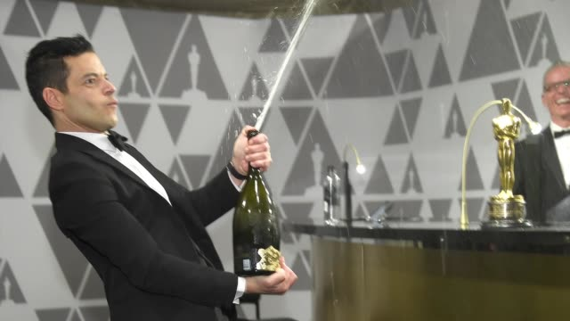 rami malek sprays champagne during the 91st annual academy awards governors ball at hollywood and highland on february 24 2019 in hollywood california - academy awards stock videos & royalty-free footage