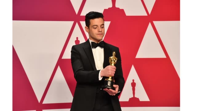 rami malek winner of best actor for 'bohemian rhapsody' poses in the press room during the 91st annual academy awards at hollywood and highland on... - academy awards stock videos & royalty-free footage