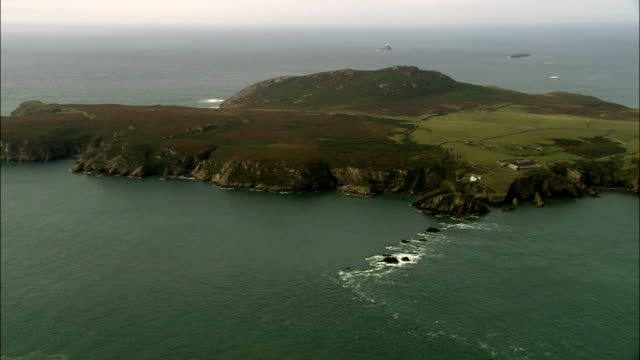 ramsey island  - aerial view - wales, county of pembrokeshire, united kingdom - pembrokeshire stock videos and b-roll footage