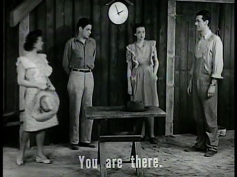 vídeos de stock, filmes e b-roll de ranch farm set w/ two women two men standing by barn [sot w/ subtitles] using combination of english language words verbs learned to this point male... - setting clock
