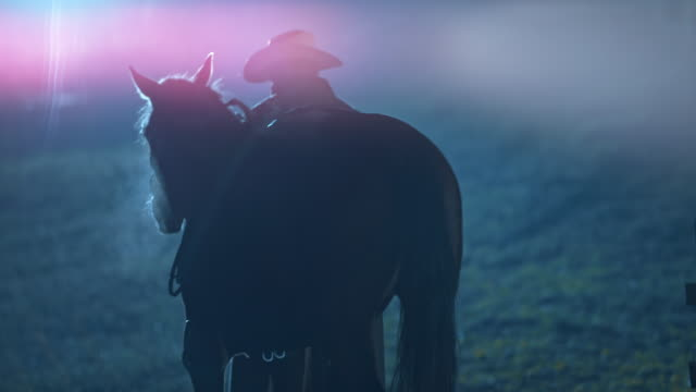 SLO MO Rancher leading his horse to stables at night