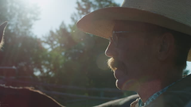rancher profile portrait - cowboy hat stock videos & royalty-free footage