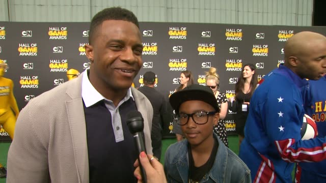 randall cobb on colin kaepernick and cam newton hosting the show, on the event, and on other sports at cartoon network hosts fourth annual hall of... - barker hangar stock videos & royalty-free footage