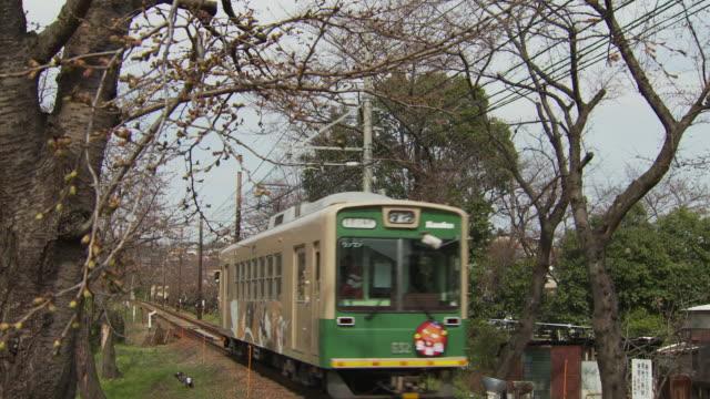vidéos et rushes de randen tram lines in kyoto - ligne de tramway