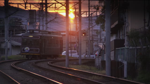 Randen Tram Lines In The Sunset