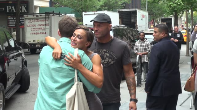 randy couture and karina smirnoff leaving the view pose for photographers on september 30 2014 in new york city - karina smirnoff stock videos & royalty-free footage