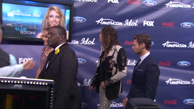 Randy Jackson Steven Tyler Jennifer Lopez and Ryan Seacrest at Meet The American Idol Judges Finalists on 3/1/2012 in Los Angeles CA
