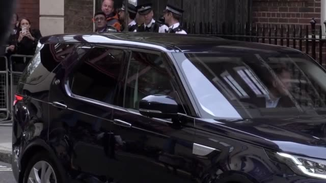 A range of angles showing the Duke and Duchess of Cambridge along with their new born prince exit the Lindo Wing in Paddington to travel back to...