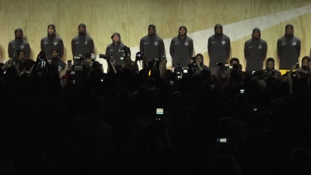 range of new basketball jerseys were unveiled in culver city on friday with nba stars donning the merchandise created by nike - basketball player stock videos & royalty-free footage