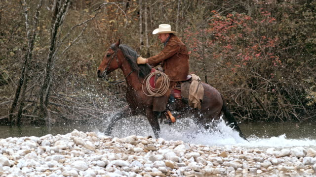 SLO MO TS Ranger crossing river on trotting horse