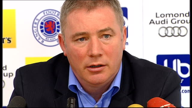 administrators to make statement about club's finances ally mccoist press conference sot - itv weekend lunchtime news点の映像素材/bロール