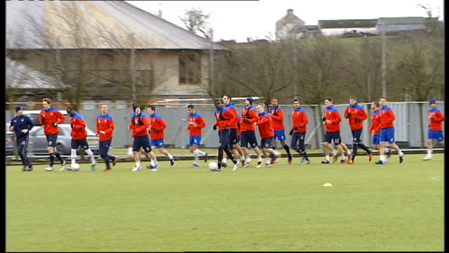 administrators to make statement about club's finances scotland glasgow ext ally mccoist on training ground rangers fc footballers training - itv weekend lunchtime news点の映像素材/bロール