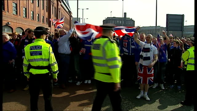 rangers football club goes into liquidation date glasgow rangers fans protesting outside stadium - liquidation stock videos and b-roll footage