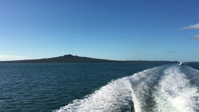 Rangitoto Island as view from a Ferry in Auckland New Zealand
