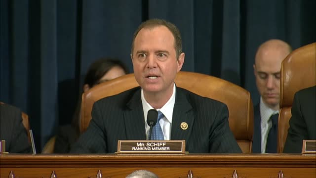 Ranking Democrat on the House Intelligence Committee Adam Schiff reads remarks at a hearing inquiring into interference in the United States 2016...