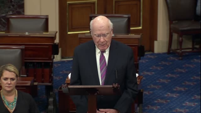 ranking senate appropriations committee democrat pat leahy of vermont says before a failed cloture vote on an initial funding package for fiscal 2020... - リーハイ点の映像素材/bロール
