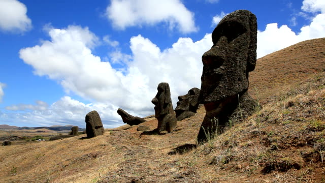 rano raraku moais, easter island, chile - mystery stock videos & royalty-free footage