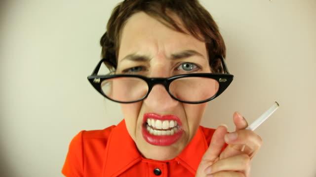 ranting fisheye nerd - cat's eye glasses stock videos and b-roll footage