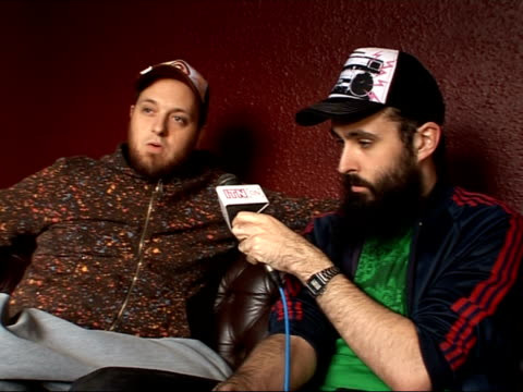 rap artists dan le sac and scroobius pip release new album; england: london: int dan le sac and scroobius pip interview sot - on their 'x factor'... - sketch comedy stock videos & royalty-free footage