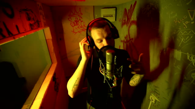 rap musician in studio singing - pop music stock videos & royalty-free footage