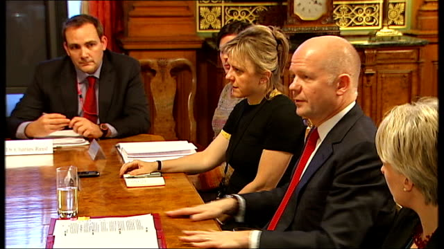 Hague to deploy experts to Syria / Jolie campaign ENGLAND London Foreign Office INT Various of Foreign Secretary William Hague MP and a team of...