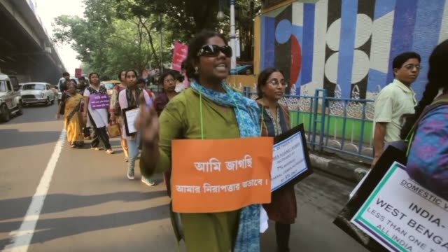 rape victim protest takes place in kolkata on june 18, 2013 in kolkata, india - sexual violence stock videos & royalty-free footage