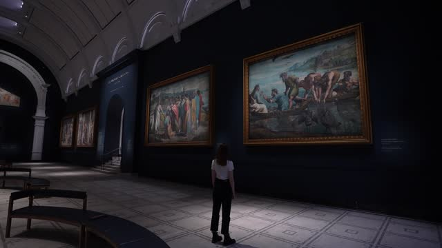 raphael cartoon, christ's charge to peter, 1515–16 and the miraculous draught of fishes, 1515-16 at the newly refurbished raphael court, home to the... - animation moving image stock videos & royalty-free footage