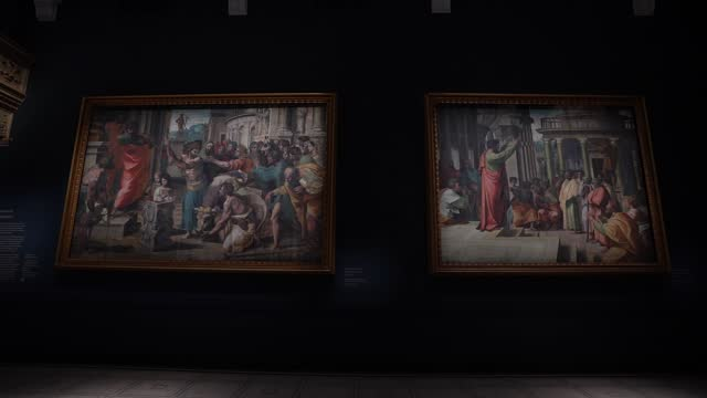 raphael cartoon, he sacrifice at lystra, 1515–16 and paul preaching at athens, 1515–16 at the newly refurbished raphael court, home to the cartoons... - animation moving image stock videos & royalty-free footage