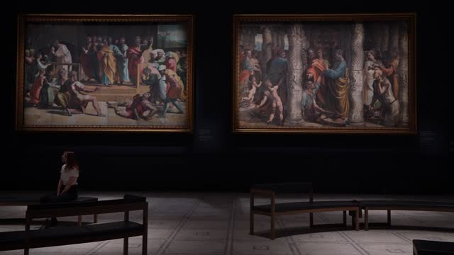 raphael cartoon, the death of ananias, 1515–16 and the healing of the lame man, 1515–16 at the newly refurbished raphael court, home to the cartoons... - animation moving image stock videos & royalty-free footage