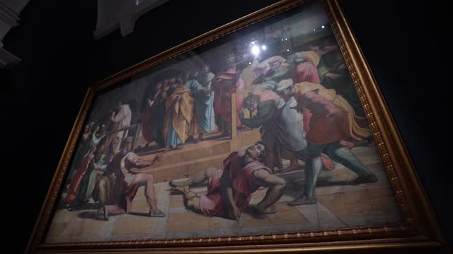 raphael cartoon, the death of ananias, 1515–16 at the newly refurbished raphael court, home to the cartoons is unveiled at the v&a on may 5, 2021 in... - animation moving image stock videos & royalty-free footage