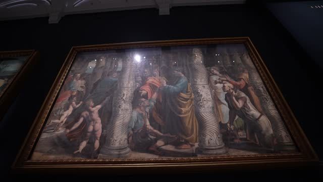 raphael cartoon, the healing of the lame man, 1515–16 at the newly refurbished raphael court, home to the cartoons is unveiled at the v&a on may 5,... - animation moving image stock videos & royalty-free footage