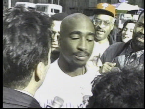 rapper tupac shakur was in new york at his own trial and sounded off for reporters after a hearing the rap star says the woman charging him with... - legal trial stock videos & royalty-free footage