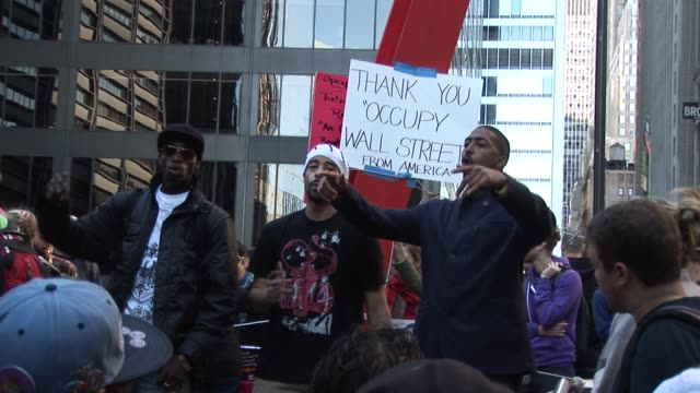 rappers perform original protest raps at zuccotti park occupy wall street protests on october 16, 2011 in new york, new york - occupy protests stock videos & royalty-free footage
