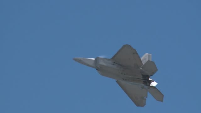 raptor stealth fighter demonstration team performing at arctic thunder 2014 - stealth stock videos & royalty-free footage