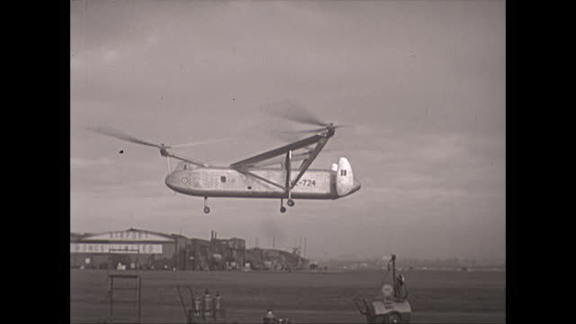 rare footage of the cierva air horse autogiro helicopter test flights - side view - british military stock videos & royalty-free footage