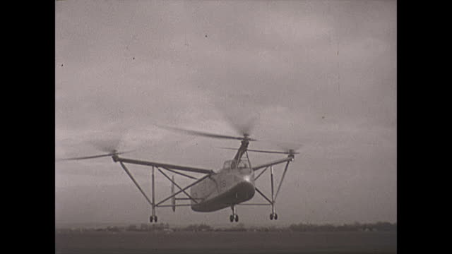 rare footage of the cierva air horse autogiro helicopter test flights - landing - hovering stock videos & royalty-free footage