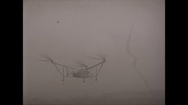 rare footage of the cierva air horse autogiro helicopter test flights -foggy day - hovering stock videos & royalty-free footage