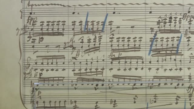 a rare musical manuscript written by classical great gustav mahler went on show in hong kong ahead of a landmark auction by sotheby's - manuscript stock videos and b-roll footage