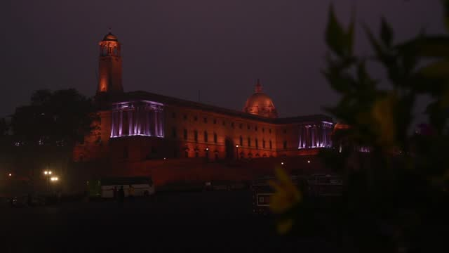 rashtrapati bhawan and secretariat buildings illuminated with colourful lights ahead of republic day of india, in new delhi on 02 january 2020.... - national landmark stock videos & royalty-free footage