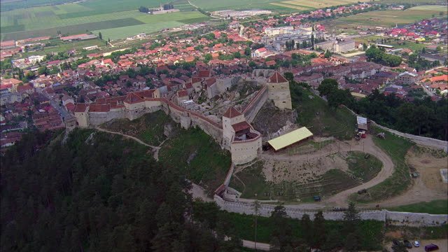aerial rasnov fortress and townscape / bulgaria - circa 14th century stock videos & royalty-free footage