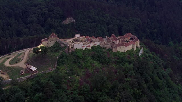 aerial rasnov fortress / bulgaria - circa 14th century stock videos & royalty-free footage