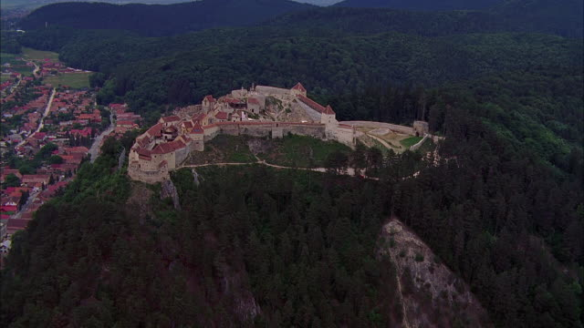 aerial rasnov fortress in mountain landscape / bulgaria - circa 14th century stock videos & royalty-free footage