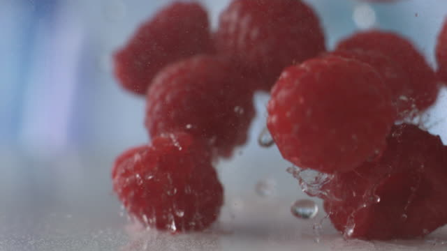 raspberries fall through mist to wet surface - raspberry stock videos and b-roll footage