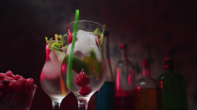 raspberry mojito - cocktail stock videos & royalty-free footage