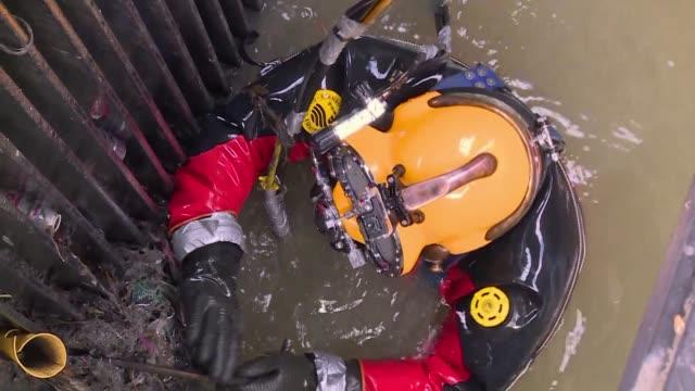 vídeos de stock, filmes e b-roll de ratas heces y preservativos rodean a julio cesar cu un buzo de aguas negras que se sumerge en el drenaje de la ciudad de mexico desde hace treinta... - drenagem