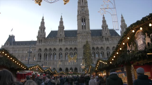 rathaus and christmas market at christmas, vienna, austria, europe - rathaus video stock e b–roll