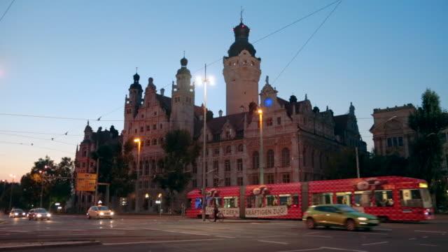 rathaus, town hall, leipzig, saxony, germany - rathaus bildbanksvideor och videomaterial från bakom kulisserna